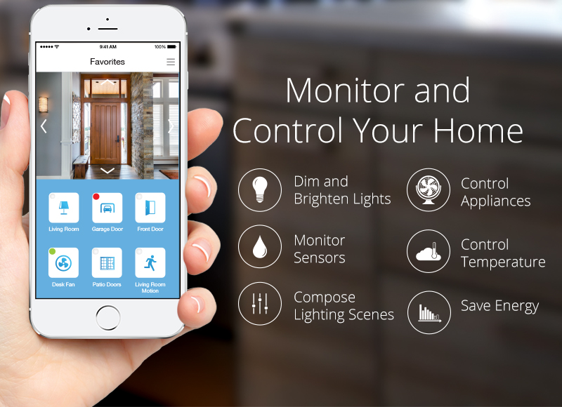 a hand holding a white iPhone with an app open that allows someone to monitor and control your home