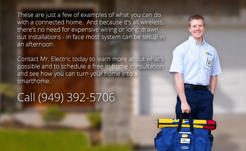 Mr. Electric of Orange, CA service professional holding a blue work bag