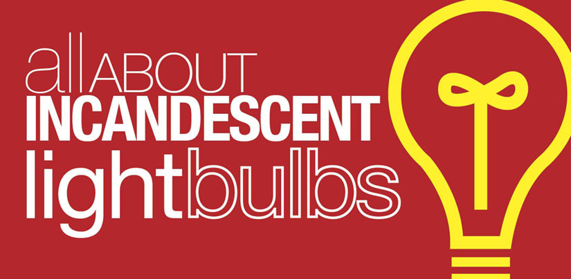 """Graphic with the title """"All About Incandescent Light Bulbs"""""""