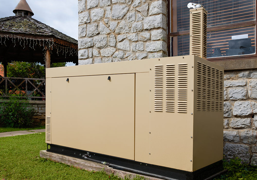 Picture of a generator outside an apartment complex.