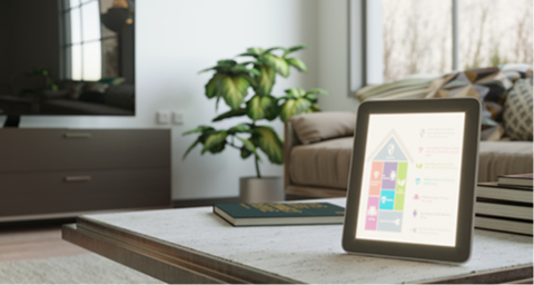 Tablet with smart home Options displayed.