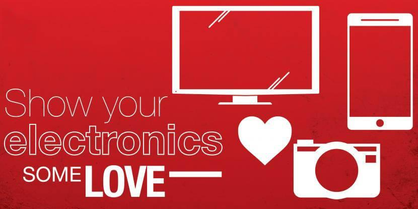show your electronics some love. computer, iPhone, camera, and heart icon on red background.