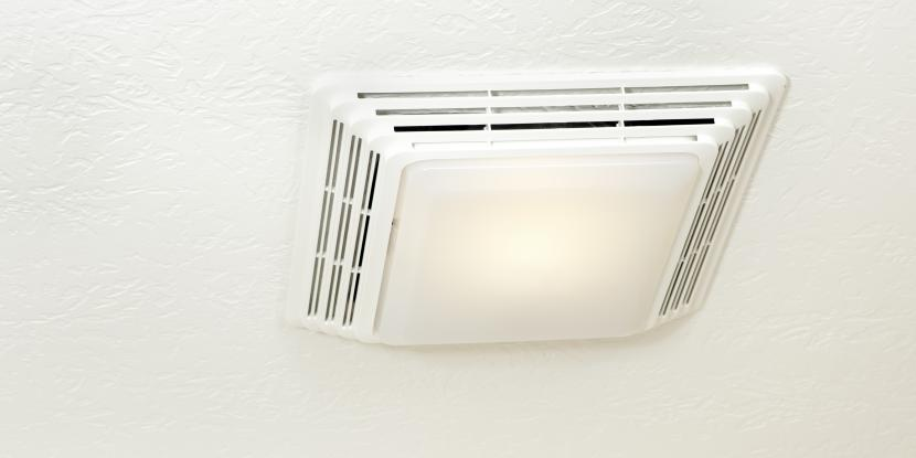 Picture of a white exhaust fan in a bathroom