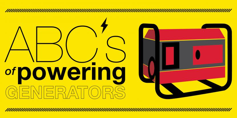ABC's of powering generators with a picture of a red generator