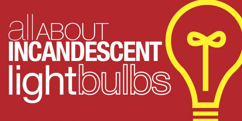 "Graphic with the title ""All About Incandescent Light Bulbs"""