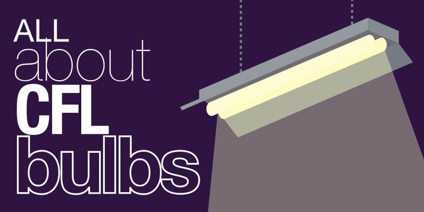 "Graphic with title ""All About Compact Flourescent Light Bulbs"""