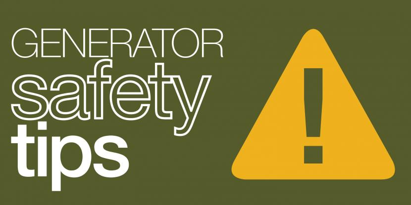 Generator safety tips with yellow hazard sign