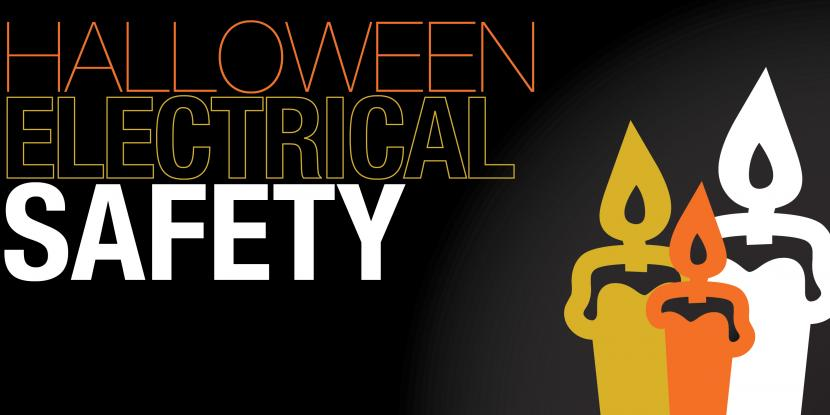 Halloween electrical safety with a picture of a yellow, orange and white candle
