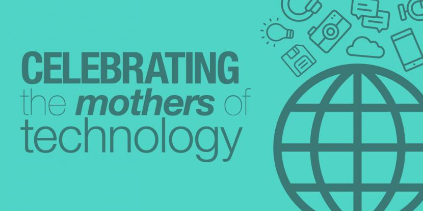 Celebrating the mothers of technology with an icon of a globe, light bulb, and floppy disk.