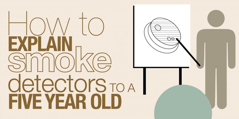 how to explain smoke detectors to a five year old with an icon of a person pointing at a board