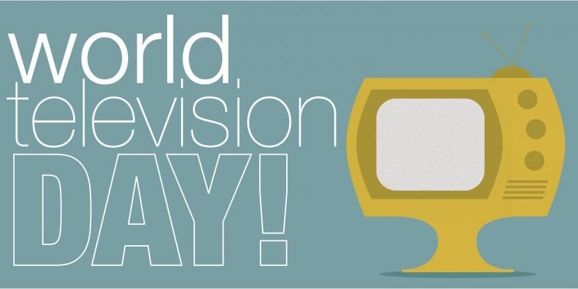 world television day with an old school TV icon