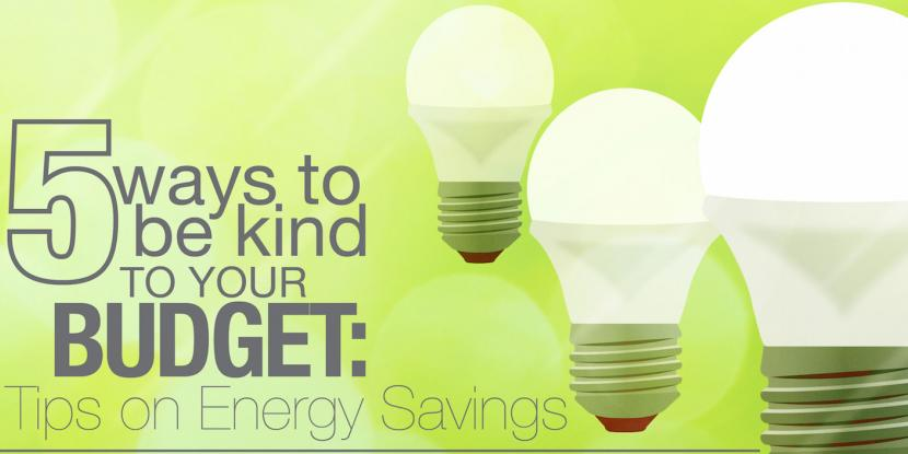 5 ways to be kind to your budget: tips on energy savings with a picture of a light bulb