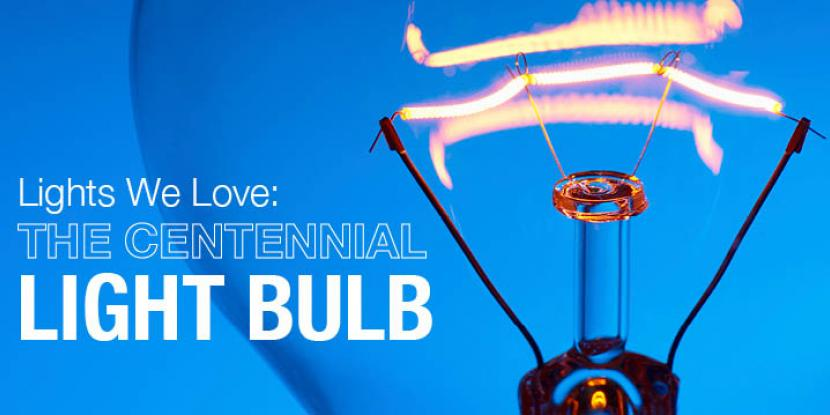 Centennial light bulb with a blue background