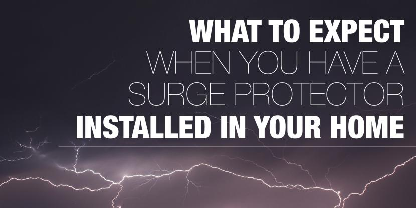 What to expect when you have a surge protector installed in your home with picture of lightning in the background