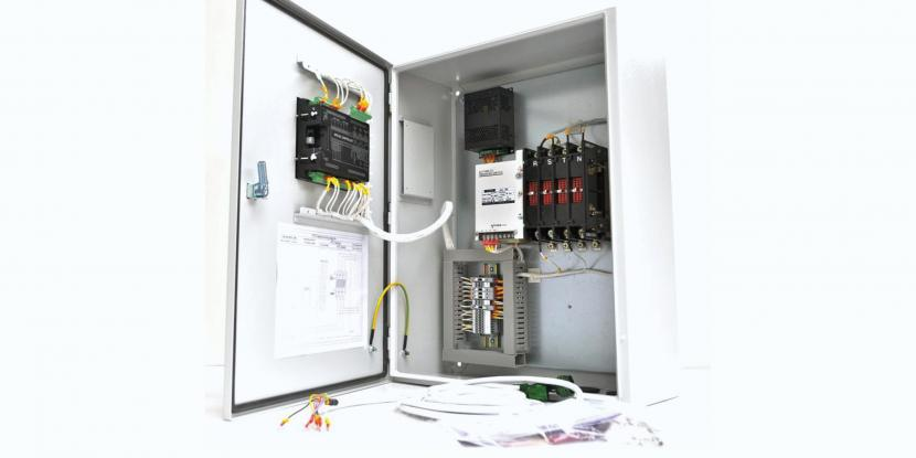 A picture of a white transfer switch