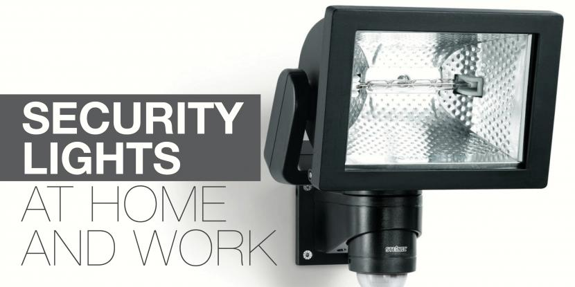A picture of an outside black security light