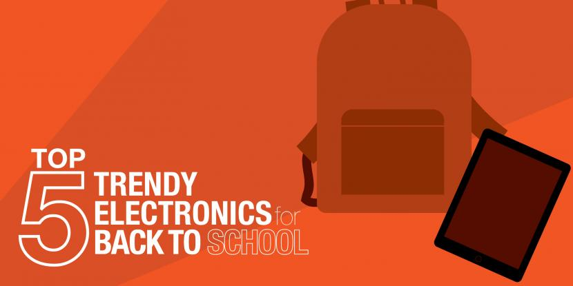 Orange background with a picture of a backpack and an ipad.