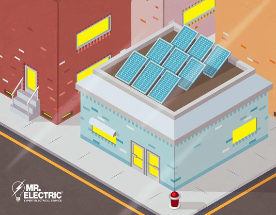 Solar panels on commercial buildings.
