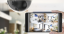 Phone showing recordings from four home security cameras