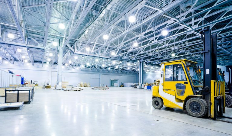 Electrical lighting inside large warehouse